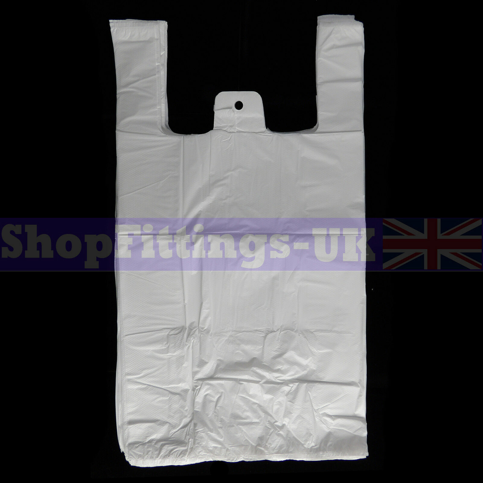 """300x White Plastic Vest Carrier Bags For Stalls shopping//Retail Bags 13/""""x19/""""x23/"""""""
