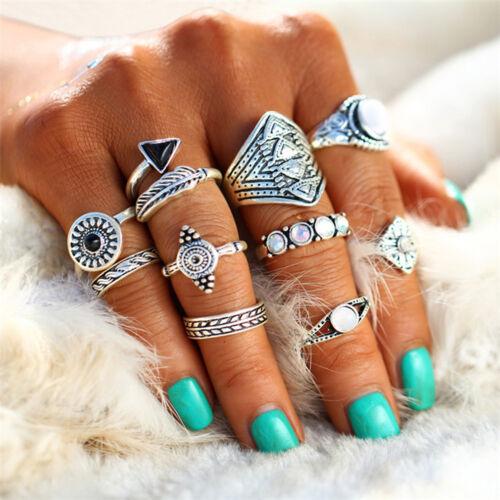 Femmes Filles Rétro Vintage Tribal Ethnique Hippie Joint Punk Knuckle Ring Set LD