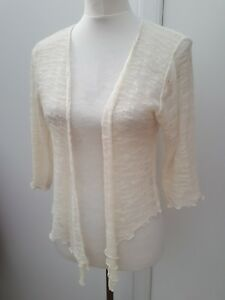 Minuet-Petite-Ladies-Size-14-16-18-Cream-Shrug-Cardigan-Knit-Party-Wear-Nr-White