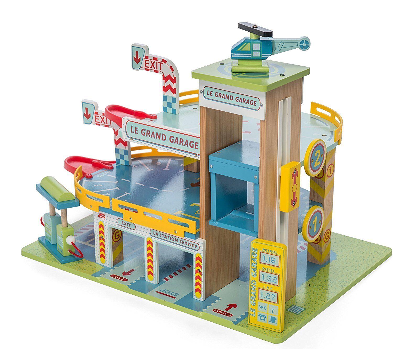 Le Toy Van Parkhaus Le Grand Garage Set Holzparkhaus Holzspielzeug Holz  | Auf Verkauf