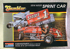 """Monogram 1/24 Steve Butler Sprint Car """"Gambler"""" *Vintage* Plastic Model Kit"""