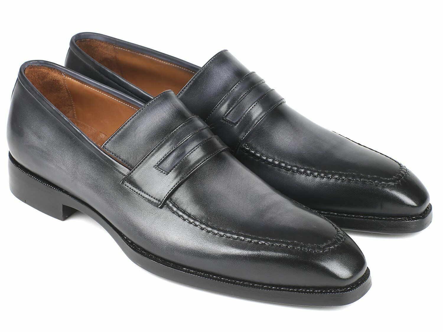 Paul Parkman Grigio Burnished Goodyear Welted Loafers (ID#37LFGRY)