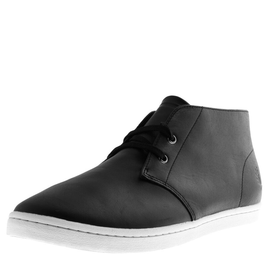 Men Fred Perry Byron Mid Leather Chukka Boots Black Leather Ankle Boots B9081