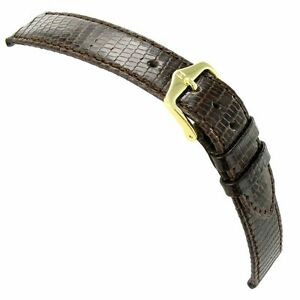 19mm-Hirsch-Brown-Genuine-Lizard-Lightly-Padded-Stitched-Mens-Watch-Band