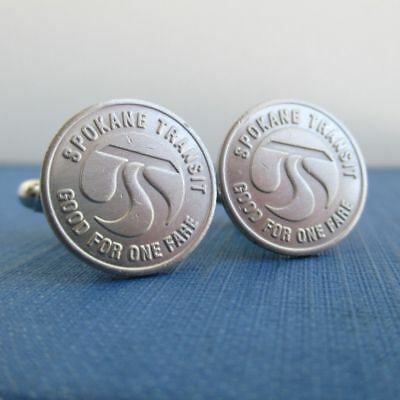 TACOMA Transit Token Cuff Links Repurposed Vintage Silver Tone Coins