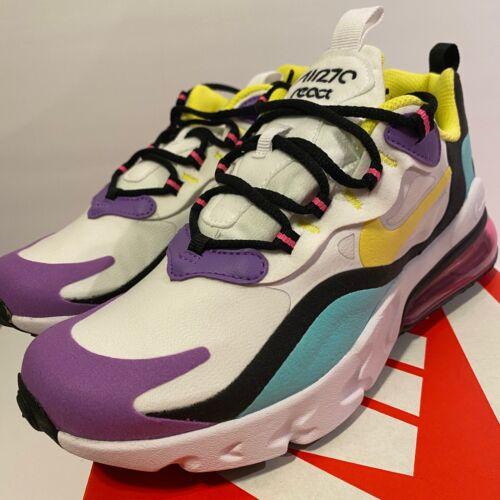 Nike Air Max 270 React GS White Dyamic Yellow sz 4 4.5 5.5 6 6.5 7 bq0103-101