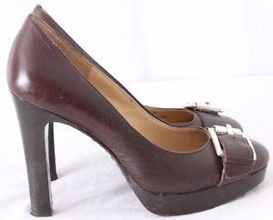 Michael-Kors-Buckle-strap-High-3-4-034-Platform-Block-Heels-Pumps-Women-039-s-US-5-5M