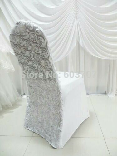 spandex stretch lycra chair cover with 3D satin rosette flower back