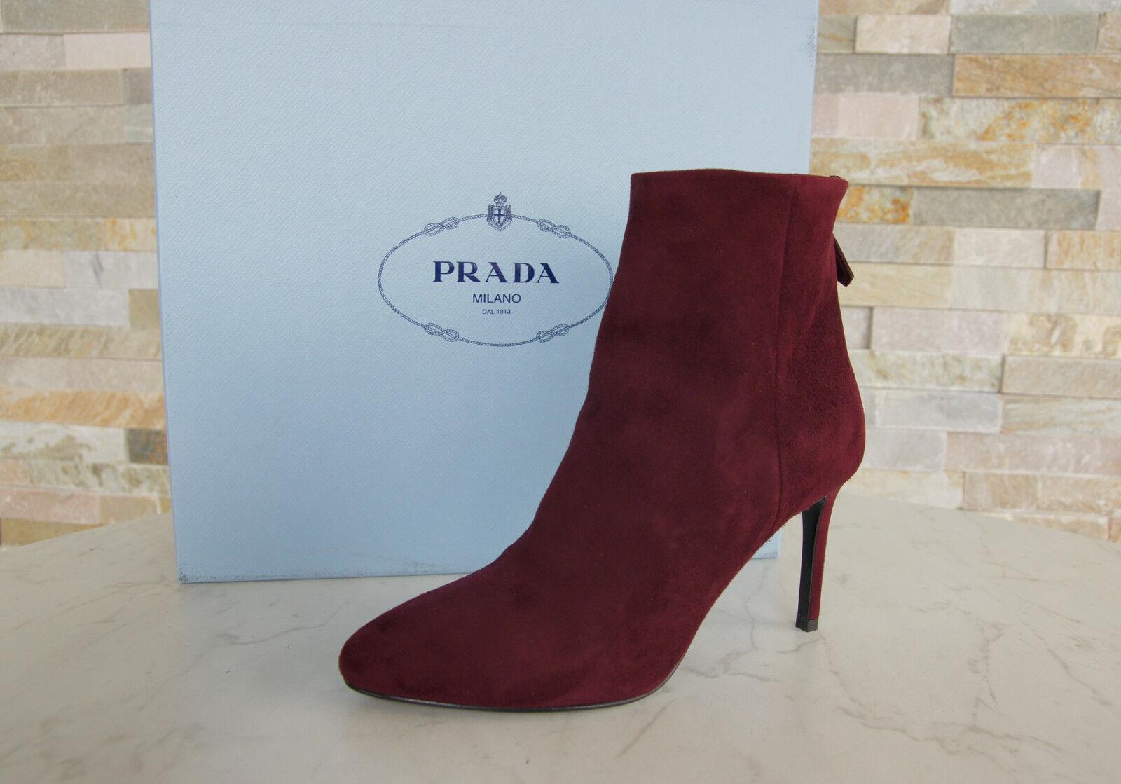 PRADA Gr 36 Stiefeletten Stiefel Schuhe Granato rot 1T079G neu ehem.