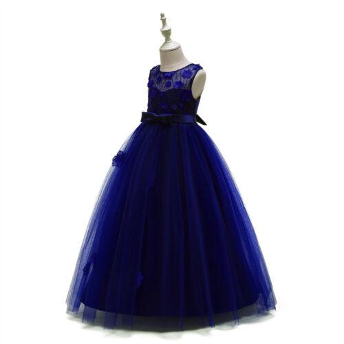 Kids Flower Princess Dress for Girls Party Graduation Wedding Bridesmaid Gown ZG