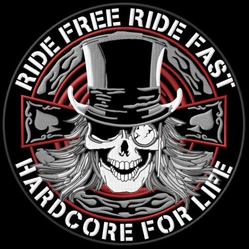 Ride Free Ride Fast Hardcore for Life Patch Aufnäher XL 22,5cm Biker Kutte MC