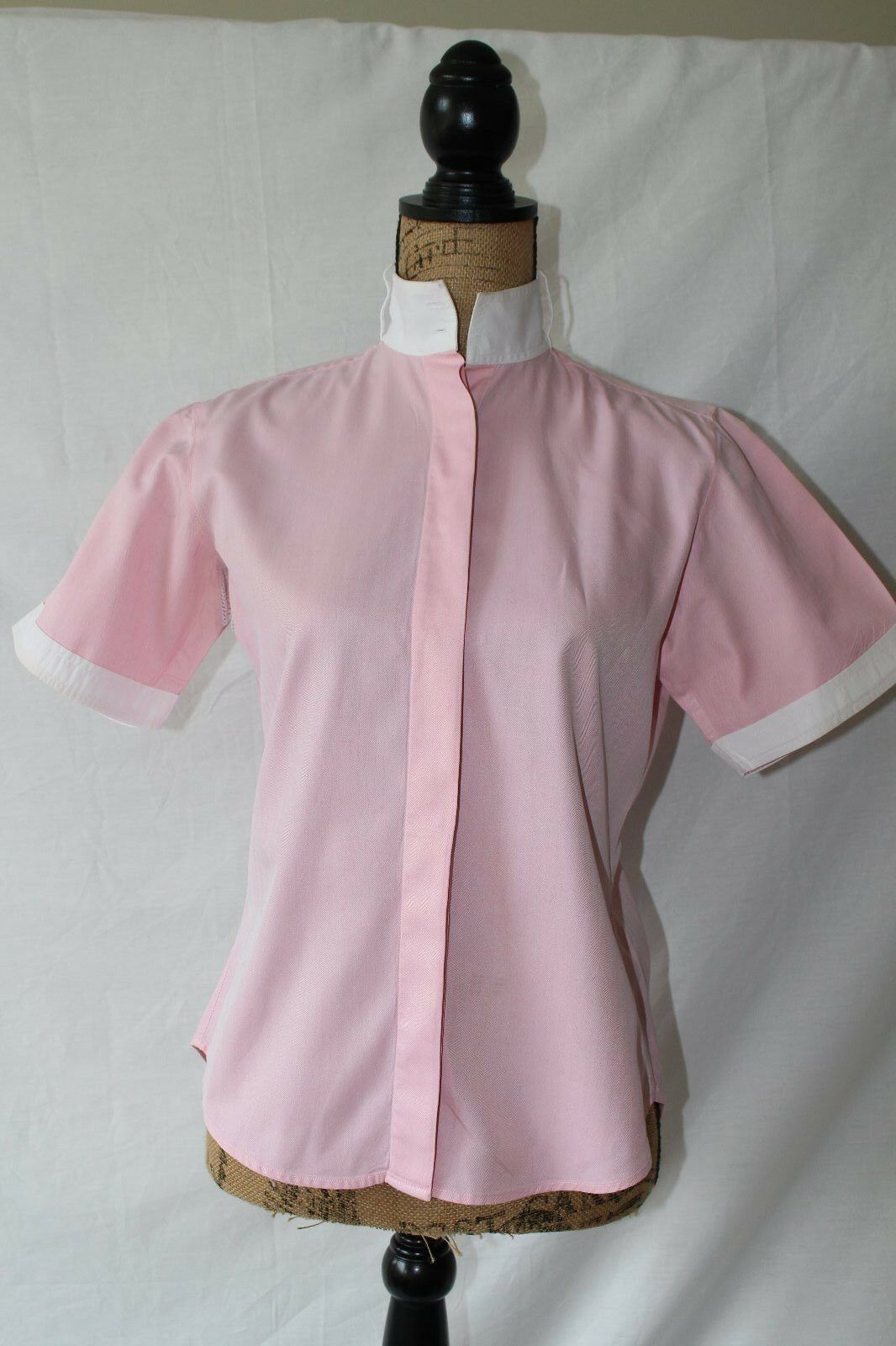 Miku Short Sleeve Pink White Vented Show Shirt Size 32 (US XS 2)