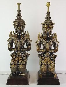 Vintage-Buddha-Lamps-Thai-Angel-Teppanom-Pottery-Mid-Century-Statue-Figure