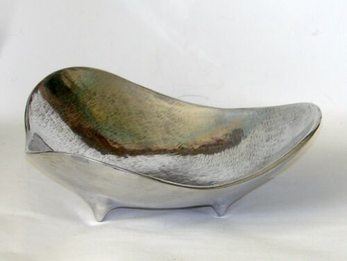 "Vintage BRUCE FOX Signed 50's Biomorphic Footed Bowl 12"" Mid Century Modern – Re"