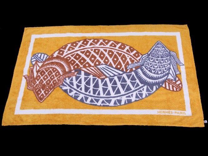HERMES plage serviette de bain tapis de sol 100% coton poissons Motif Intérieur auth RARE