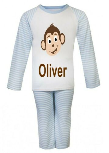 Personalised Children/'s Kids Printed MONKEY Pajamas Pyjamas PJ/'s ANY NAME BOYS