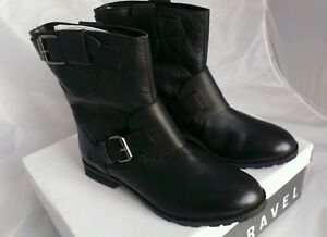 New Ravel Ladies Biker Buckle Ankle womans Black 7 Style Boots Double Uk Leather BBqxdwR5r