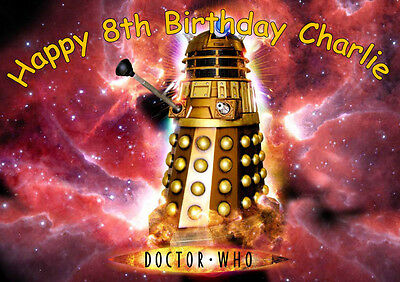 Personalised A4 Dr Who Dalek Icing Sheet Edible Birthday Cake Topper