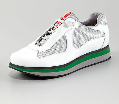 NIB Prada Mens Americas Cup White Green Patent Double Sole Sneaker 13 US 12 UK