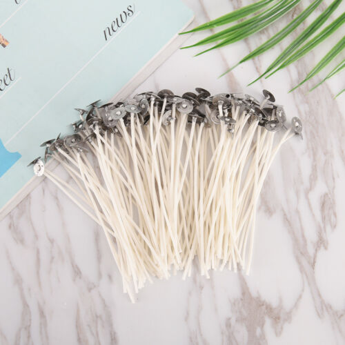 100X Candle wicks cotton core pre waxed with sustainers for candle making JG