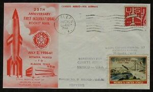 s1234-Raketenpost-Rocket-Mail-Nr-9-USA-Mexico-July-2-1961-roter-Umschlag