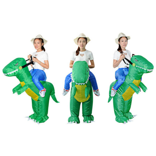 Funny Adult Kids Inflatable Green Dinosaur Rider Fancy Dress Party Costume Game