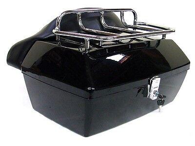 Black Motorcycle Trunk Tail Box Luggage w/Top Rack Backrest For Kawasaki Cruiser