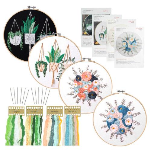 Embroidery Thread Starter Set Fabric Hoop Cross Stitch Craft Tool Needles Kit 9