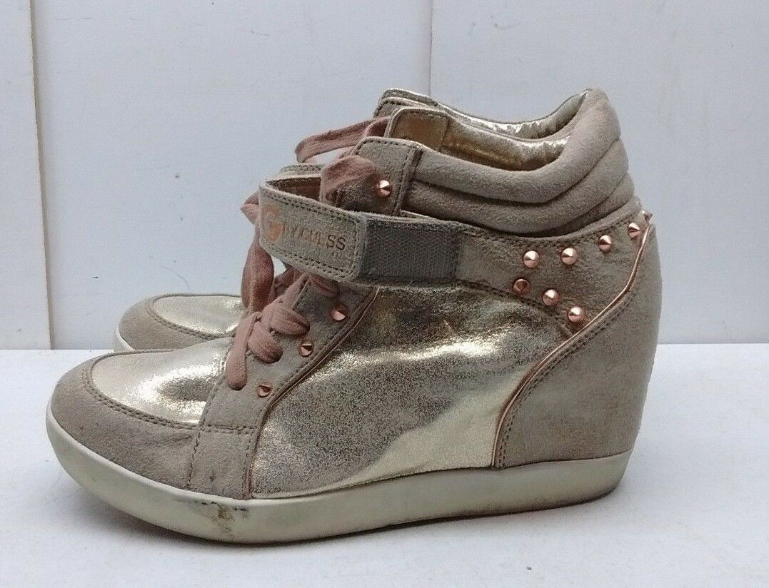Guess PopStar Women Metallic Brown Canvas Wedge High Athletic Sneaker shoes 10M