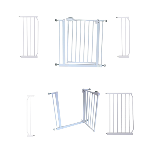 + 10 cm Extension iSafe Deluxe Stair Gate 90/° Stop Open /& Auto-Close StairGate