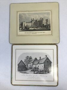 Lot-Of-2-British-Scenes-Cork-Backed-Placemats-Vintage-England