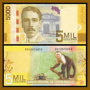 Costa-Rica-5000-5-000-Colones-2012-P-276-Monkey-Unc