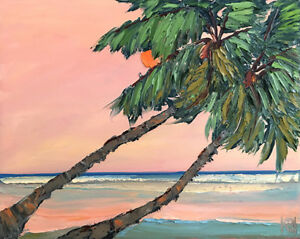 GULF-COAST-Original-Seascape-Palms-Expression-Art-Oil-Painting-16x20-090318-KEN