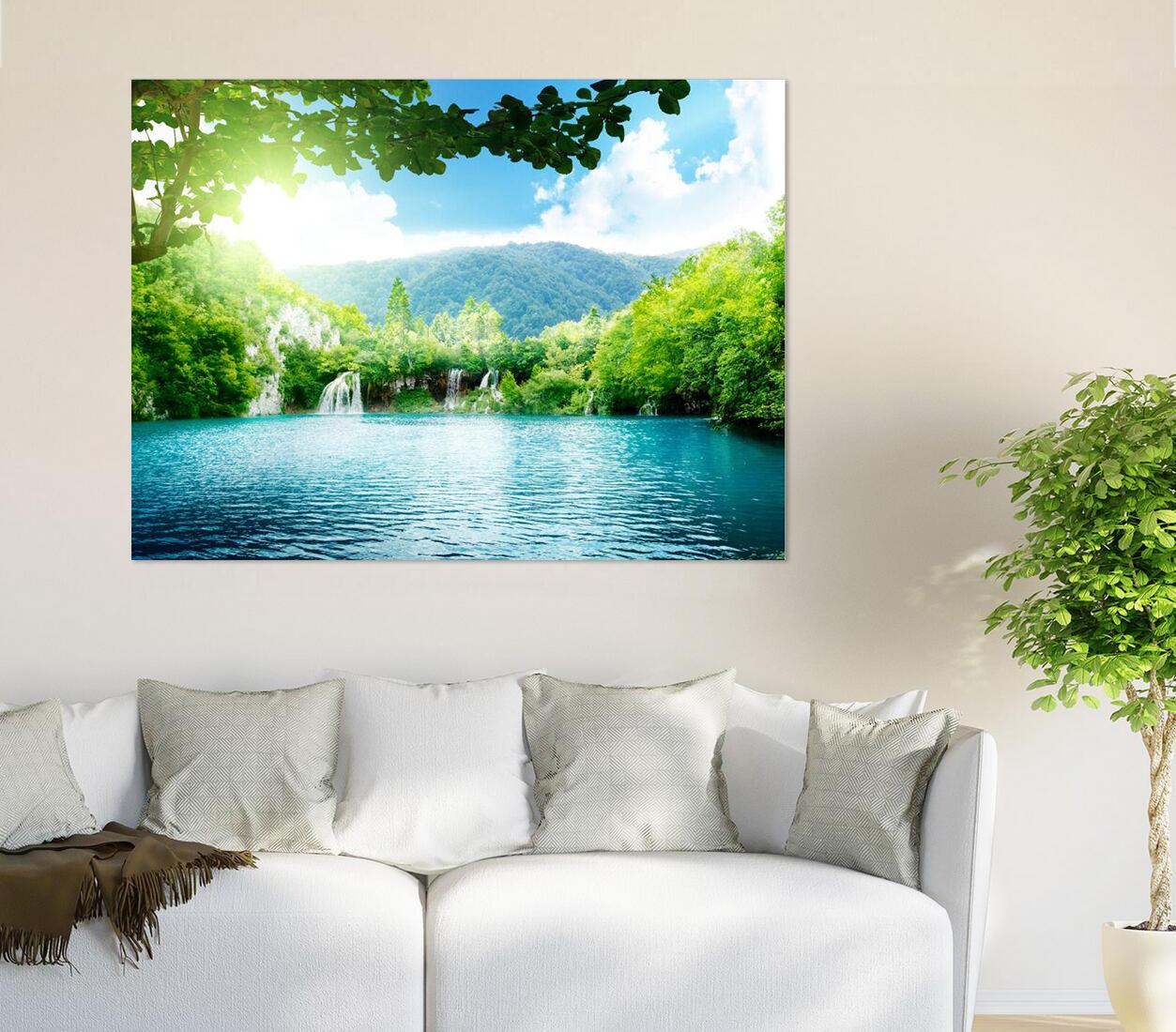 3D Berg Dschungel Fluss Sonne 7 Fototapeten Wandbild BildTapete AJSTORE DE Lemon