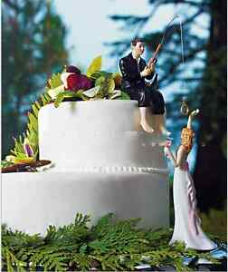 Wedding cake topper fishing groom and bride funny wedding cake image is loading wedding cake topper fishing groom and bride funny junglespirit Images