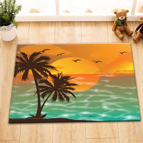 Sunset Sea Tropical Coconut Tree Bathroom Waterproof Fabric Shower Curtain Set