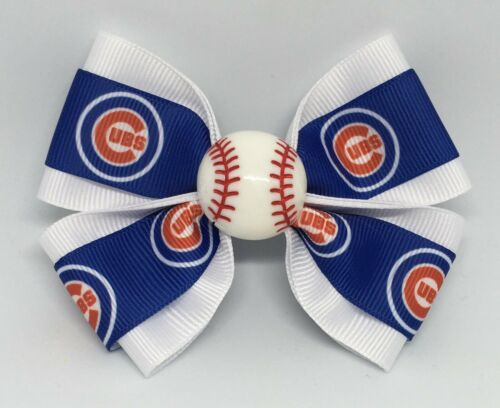 """Clip or Ponytail Girls Hair Bow 4/"""" Wide Chicago Cubs Baseball French Barrette"""
