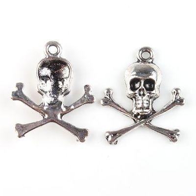 30x Hot Sale Antique Silver Charms Skull Shape Alloy Pendants Jewelry Findings J