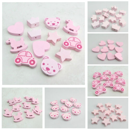 HOT SELL VARIOUS STYLE LIGHT PINK WOODEN BEADS FOR JEWELLERY MAKING
