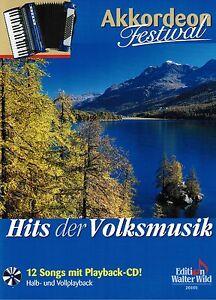 Akkordeon-Noten-HITS-DER-VOLKSMUSIK-mit-Playback-CD-leichte-Mittelstufe