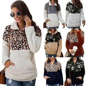 Womens Leopard Teddy Bear Jumper Tops Ladies Winter Warm Sweatshrit Blouse Shirt