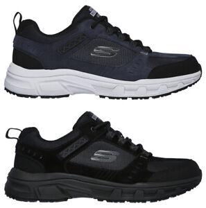 SKECHERS-OAK-CANYON-51893-scarpe-uomo-sportive-sneakers-camoscio-memory-nero-blu
