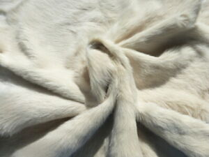 sheepskin leather hide Large Toscana Cream long silky hair w/White Suede back