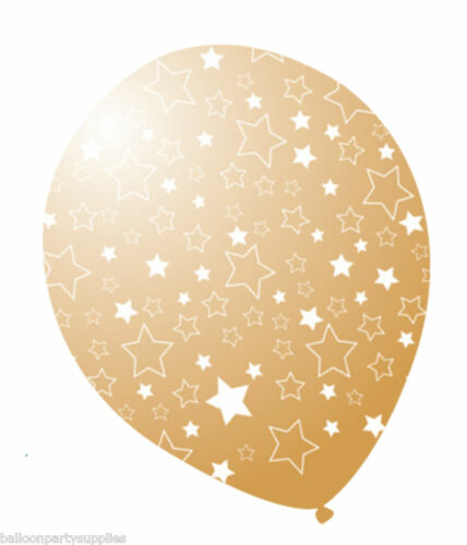 """6 x 12/"""" Gold Balloons Printed all over with stars."""