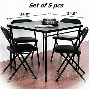 folding dining table set of 5 table 4 chairs black card game party ebay. Black Bedroom Furniture Sets. Home Design Ideas