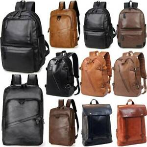 Men/'s Women/'s PU Leather Backpack Laptop Bag Satchel Travel School Rucksack Bag