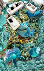 3D Dolphin Shark Sea 8688 Floor WallPaper Murals Wall Print Decal 5D AU Lemon