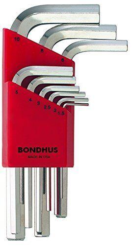Short 1.5-10mm Bondhus 16299 Set of 9 Hex L-wrenches BriteGuard Finish