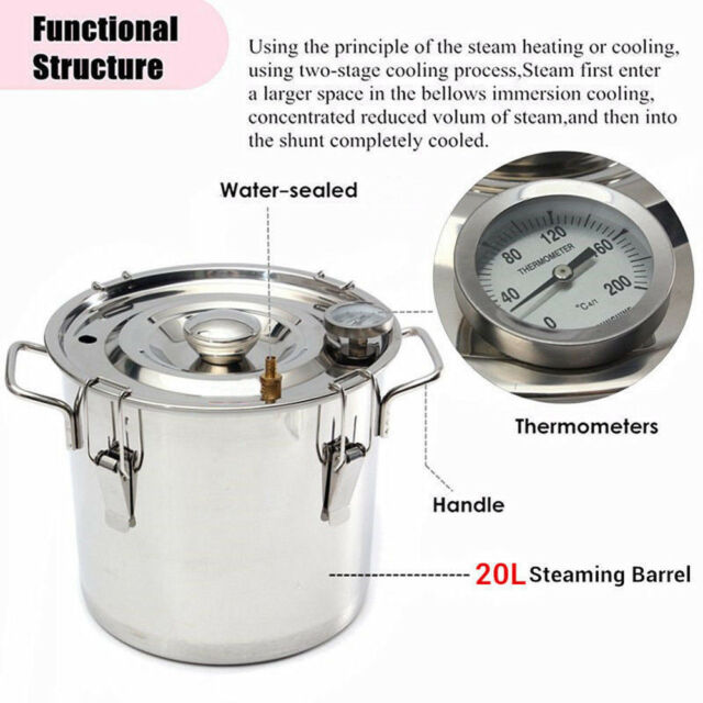 New 20L Water Alcohol Distiller Brew Kit Stainless Copper Moonshine Wine Making