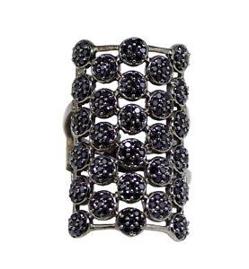 925-Silver-Round-Black-Spinel-Stone-Long-Finger-Split-Shank-Statement-Ring-Women